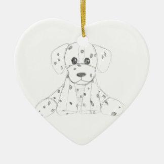 Ornement Cœur En Céramique le griffonnage simple de chien badine le Dalmate