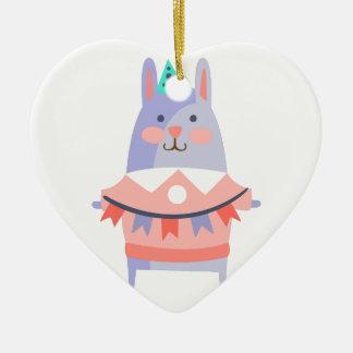 Ornement Cœur En Céramique Le lapin avec la partie attribue génial stylisé