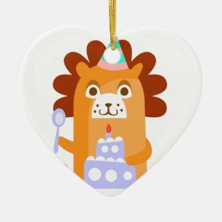 Ornement Cœur En Céramique Le lion avec la partie attribue génial stylisé