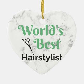 Ornement Cœur En Céramique Le meilleur coiffeur du monde