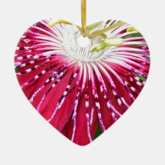 Ornement Cœur En Céramique Le Passionflower rose Dble-a dégrossi coeur