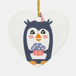 Ornement Cœur En Céramique Le pingouin avec la partie attribue génial stylisé