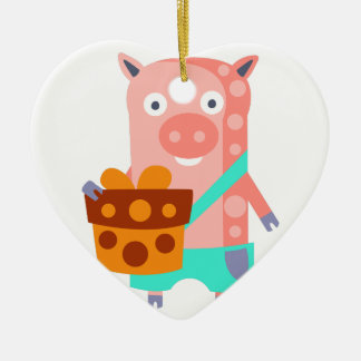 Ornement Cœur En Céramique Le porc avec la partie attribue génial stylisé