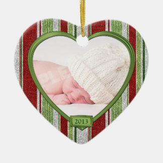 Ornement Cœur En Céramique Le premier Noël du bébé barre Noël de coeur de