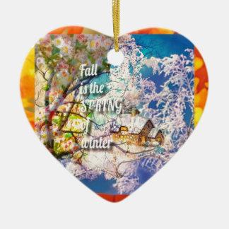 Ornement Cœur En Céramique Le ressort des débuts d'hiver dans l'automne