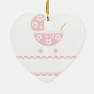 Ornement Cœur En Céramique Le rose de partie de baby shower se développe mère