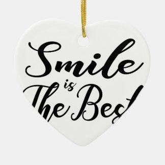 Ornement Cœur En Céramique Le sourire est le meilleur