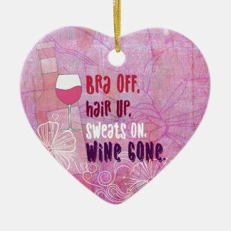 Ornement Cœur En Céramique Le soutien-gorge, des cheveux, sue dessus, vin