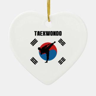 Ornement Cœur En Céramique Le Taekwondo