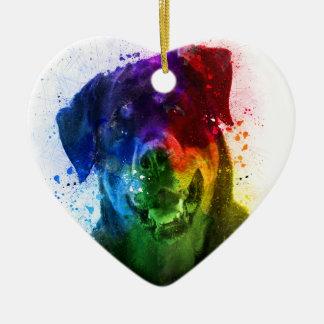 Ornement Cœur En Céramique Les couleurs de l'amour sont un rottweiler