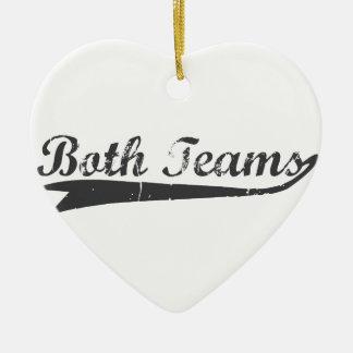 Ornement Cœur En Céramique Les deux équipes
