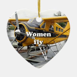 Ornement Cœur En Céramique Les femmes volent : avion de flotteur, capot de
