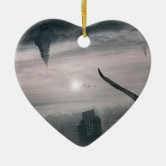 Ornement Cœur En Céramique Les mondes parallèles se heurtent