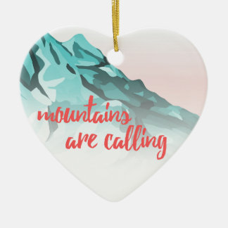 Ornement Cœur En Céramique Les montagnes appellent la conception de
