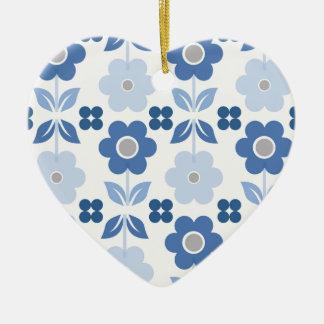 Ornement Cœur En Céramique Les rétros fleurs bleues Dble-ont dégrossi coeur