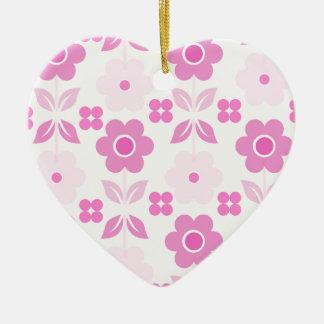 Ornement Cœur En Céramique Les rétros fleurs roses Dble-ont dégrossi coeur