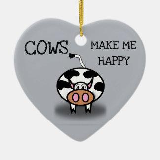 Ornement Cœur En Céramique Les vaches me rendent heureux