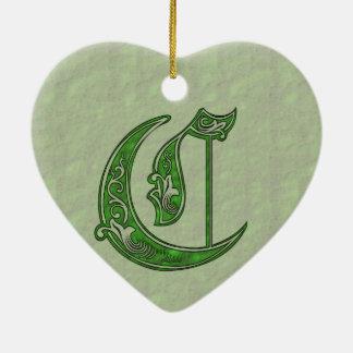 Ornement Cœur En Céramique Lettre C
