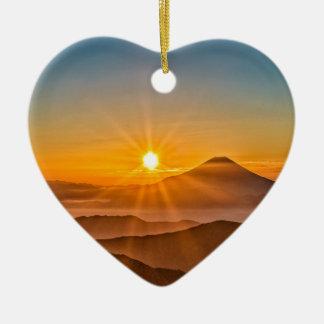 Ornement Cœur En Céramique Lever de soleil
