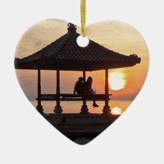 Ornement Cœur En Céramique Lever de soleil dans Bali