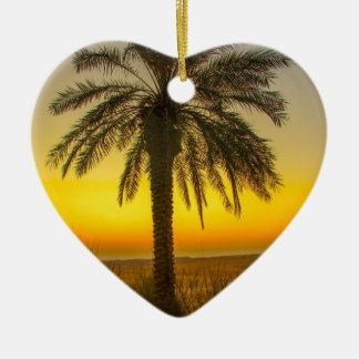 Ornement Cœur En Céramique Lever de soleil de palmier