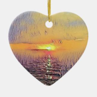Ornement Cœur En Céramique Lever de soleil peint assez artistique de paysage
