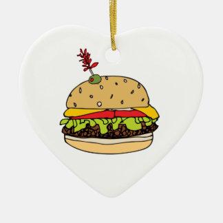 Ornement Cœur En Céramique L'hamburger de fromage de luxe personnalisent