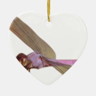 Ornement Cœur En Céramique Libellule