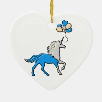 Ornement Cœur En Céramique Licorne bleue