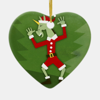 Ornement Cœur En Céramique Licorne de Père Noël dans la Chambre