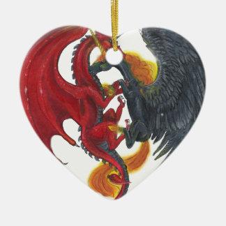 Ornement Cœur En Céramique Licorne noire du feu et dragon rouge