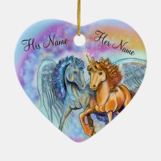 Ornement Cœur En Céramique Licorne Pegasus~ornament de vent et de flamme