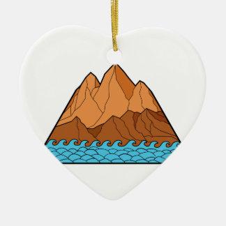 Ornement Cœur En Céramique Ligne mono en lambeaux de vagues de montagne