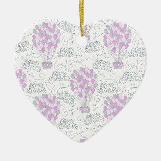 Ornement Cœur En Céramique Ligne rose pourpre chaude de décor de crèche de