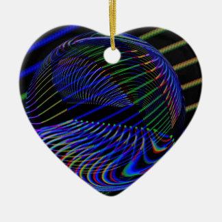 Ornement Cœur En Céramique Lignes de boule en verre