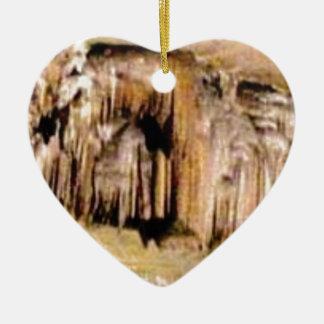 Ornement Cœur En Céramique lignes verticales dans les roches