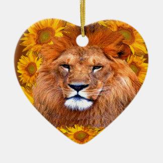Ornement Cœur En Céramique lion africain fauve et cadeaux jaunes de
