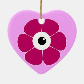 Ornement Cœur En Céramique l'oeil de la fleur rose