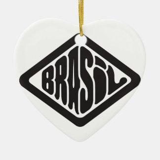 Ornement Cœur En Céramique logo du Brésil de forme de diamant rétro