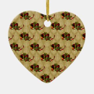 Ornement Cœur En Céramique L'or élégant présente la damassé