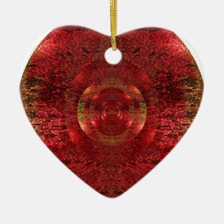 Ornement Cœur En Céramique L'or lumineux et le motif 3D orange conçoivent