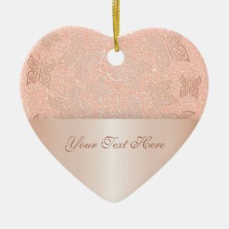 Ornement Cœur En Céramique L'or rose de papillons personnalisent