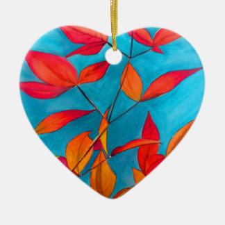Ornement Cœur En Céramique L'orange laisse à automne l'art pour aquarelle