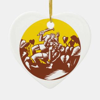 Ornement Cœur En Céramique Losi défaisant la gravure sur bois en cercle de