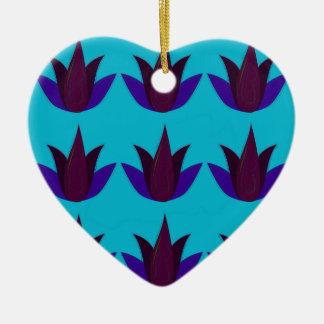 Ornement Cœur En Céramique Lotus bleus