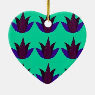 Ornement Cœur En Céramique Lotus sur cyan