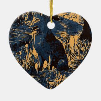 Ornement Cœur En Céramique loup dans les bois