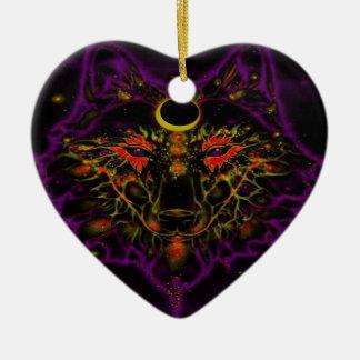 Ornement Cœur En Céramique Loup pourpre au néon mythique