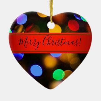 Ornement Cœur En Céramique Lumières de Noël multicolores. Ajoutez le texte ou