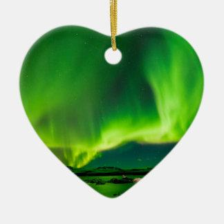 Ornement Cœur En Céramique Lumières du nord de l'Islande